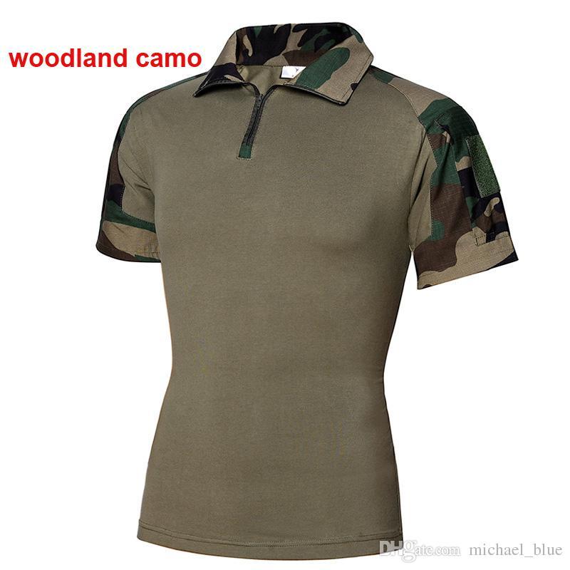 Camisas de combate de manga corta Camisas de rana de camuflaje Camisas de combate Combate Camo Camisas de combate de caza al aire libre Envío gratis a América
