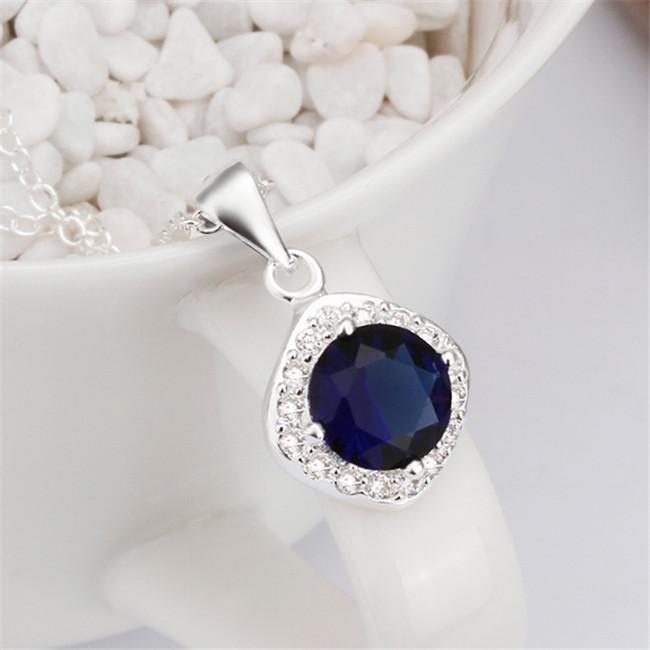 brand new Blue Diamond sterling silver plate Necklace fit women,wedding 925 silver pendant Necklace with chains EN465