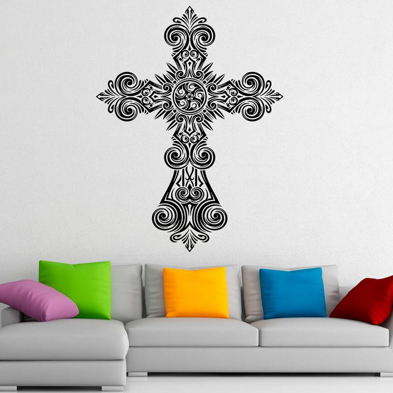 Cross Wall Decals Jesus Christ Religion Pvc Wall Sticker Home Decoration Living Room Sticker Wedding Decoration Buy Wall Stickers Chandelier Wall Decal From ...  sc 1 st  DHgate.com & Cross Wall Decals Jesus Christ Religion Pvc Wall Sticker Home ...