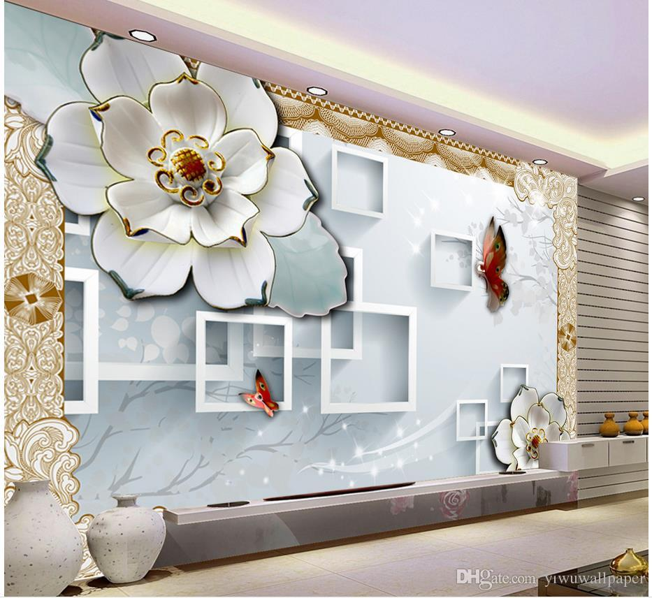 Custom Any Size 3d Box Embossed Flower Tv Background Wall