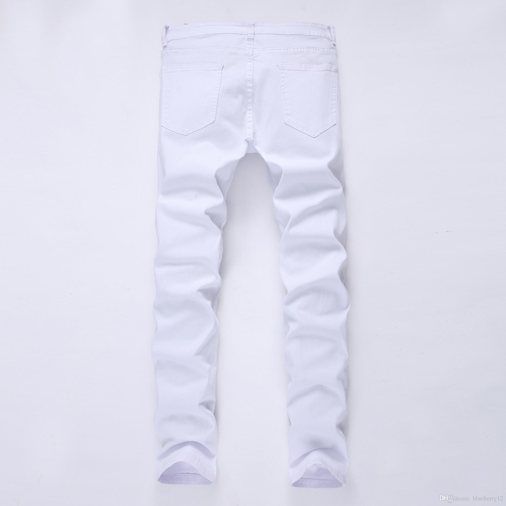 Pantaloni da uomo alla moda in jeans slim fit aderenti Pantaloni in denim distrutti strappati skinny strappati Pantaloni hiphop lavati neri
