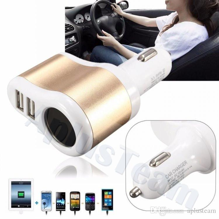 Dual USB Car Chargers 5v 3.1A Compatible For iPad iPhone Samsung Xiaomi Uiversial Car Cigarette Lighter Power Socket Auto Adapter