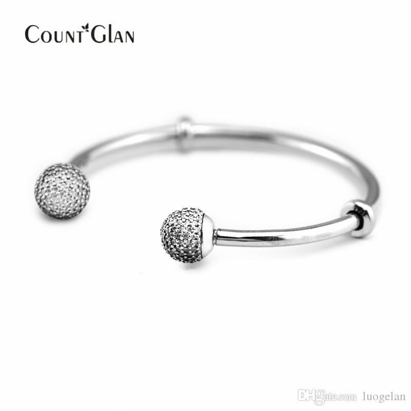 925 Sterling Silver Jewelry Sparkled Open Bangle For Women Fashion Charms European Pandora Style Bangles