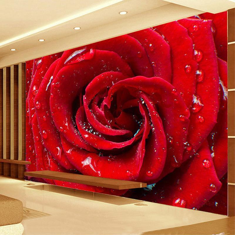 Wholesale custom mural wallpaper 3d stereoscopic non woven - Big rose flower wallpaper ...