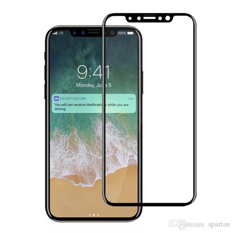 For iphone X 8 7 6 Plus 3D Tempered Glass Carbon Fiber soft edge Color Full cover phone Screen Protector Film with retail package