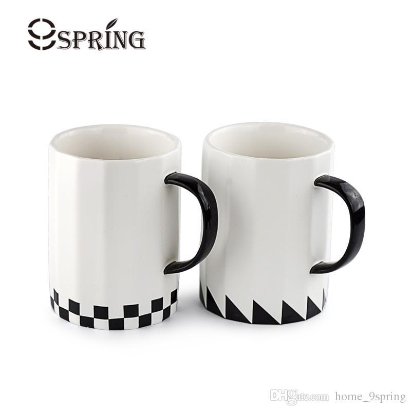 office mug. 16oz Large Ceramic Cup White Black Coffee Tea Brief Style Big Office Mug Porcelain Drinkware Gift Mugs Customizable