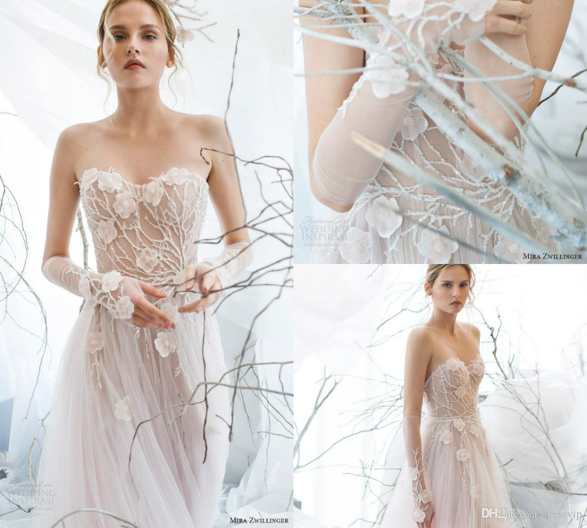 Discount Mira Zwillinger 2017 A Line Wedding Gowns With Glove Beads ...