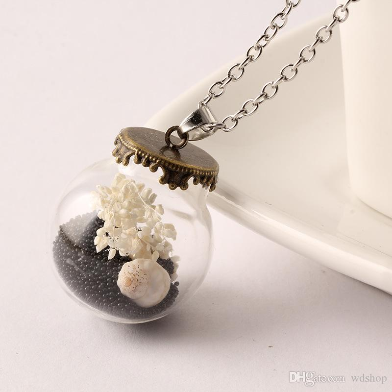 Natural Dry Flower Necklace Glass Ball Cover With Antique Bronze Base Glass Bubble DIY Vial Pendant Fill Conch Colorful Beads
