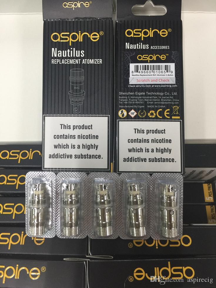 Original aspire BVC coil work on nautilus/mini nautilus 2 tanks Huge vapor with best price TPD packages DHL/UPS