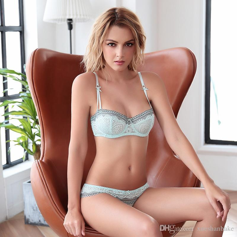 d14cb5f1d2 2019 MOXIAN New Bra Suit Underwear A B C D E Cup Large Size Fat Girl Is  Also Suitable Half Cup Ultra Thin Lace Love Bra Green Black Cyan 2025 From  ...