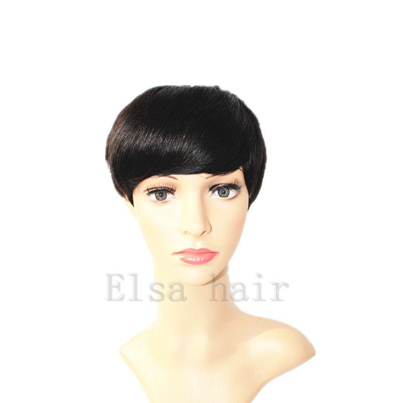 Brezilyalı Pixie Kısa Düz İnsan Saç peruk Siyah Kadınlar için Tutkalsız Tam peruk Yok Dantel İnsan Saç Peruk