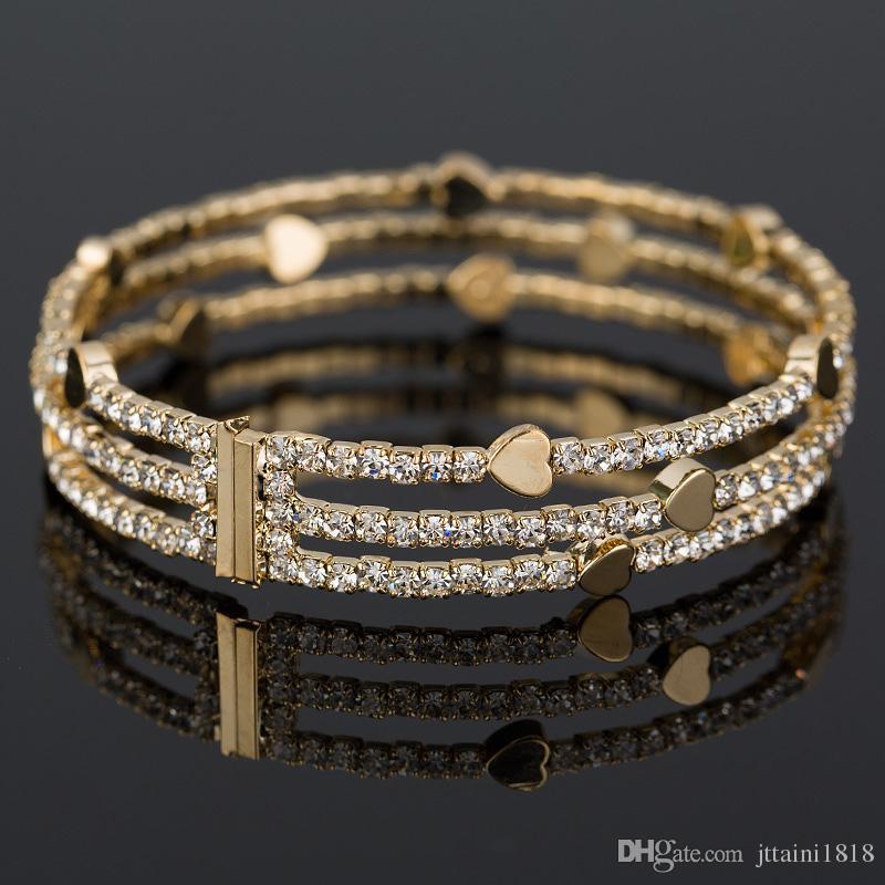 New Fashion Elegant Women Bangle 3 fila braccialetto bracciale in cristallo polsino Bling Lady regalo bracciali braccialetti B020