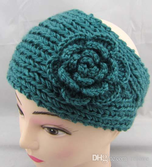 wholesale Price Women Fashion Wool Crochet Headband Headwrap Knit Hair band Flower Winter Ear Warmer DHL shipping