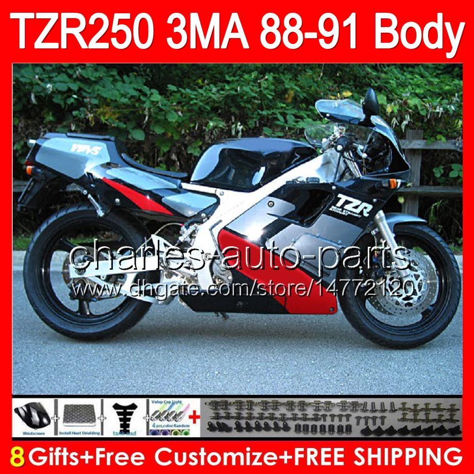 جسم أحمر 8gifts لامع لياماها TZR-250 3MA TZR250 88 89 90 91 87HM1 TZR250RR RS RR YPVS TZR 250 1988 1989 1990 1991 Fairing Red black