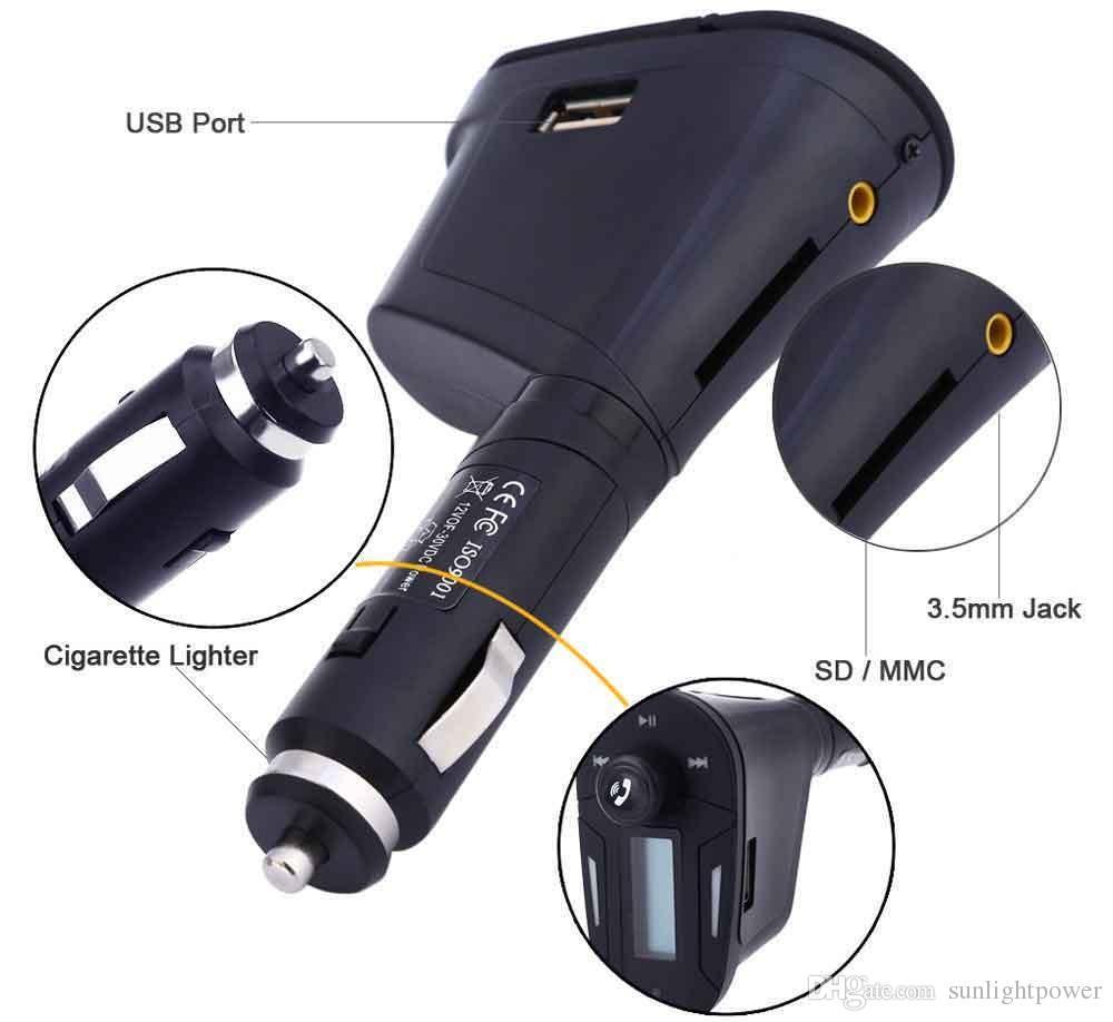 Car Kit Bluetooth FM Transmitter Musik MP3-Player Wireless Radio Adapter Modulator + USB SD MMC LCD Fernbedienung Audiokabel