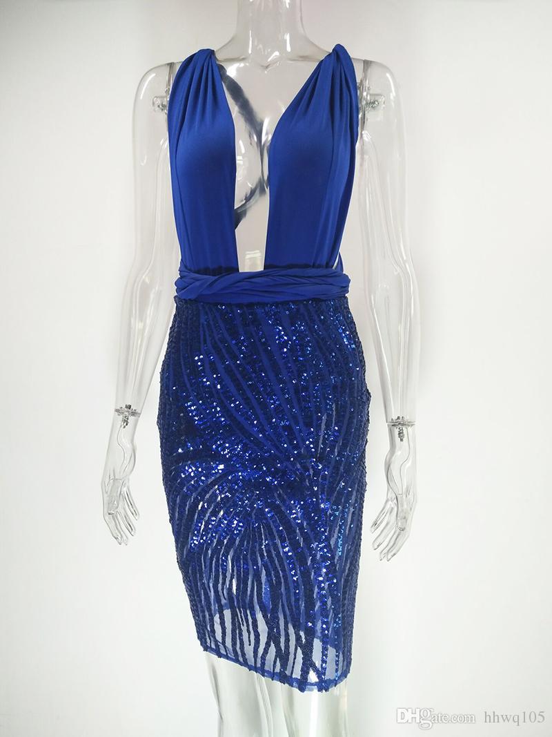 Cocktail Dress Elegant Ladies Blue Sequin Dress Deep V-Neck Backless Bandage Bodycon Dress Sexy Women Short Evening Party Dresses LJG0701