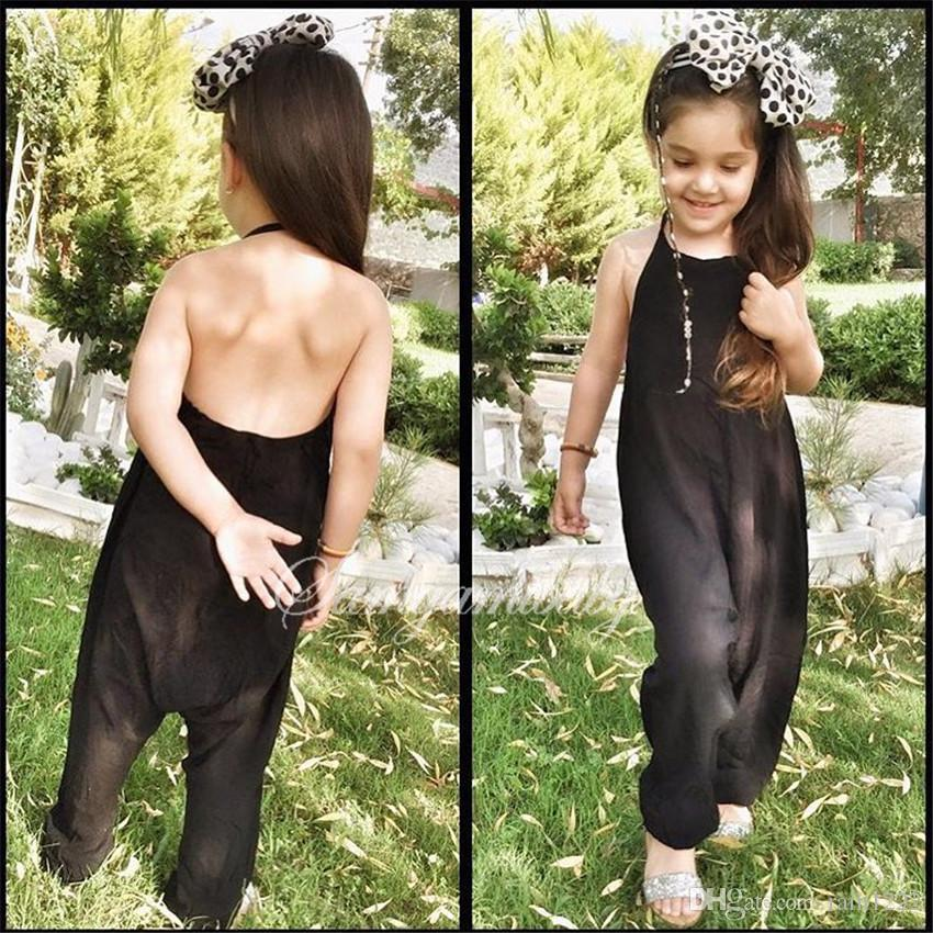 Girls Kids Onesies Rompers Jumpsuits Overalls for Children Baby Black Cotton Backless Rompers Jumpsuits Babies Suspender Overalls For 1-6T