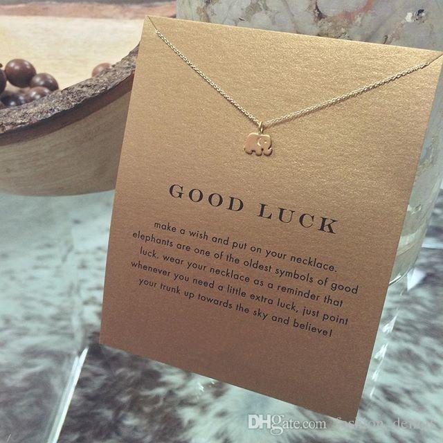 Marca de lujo Dogeared collares con tarjeta de oro elefante corazón clave trébol herradura triángulo encanto colgante collar para mujer joyería de moda