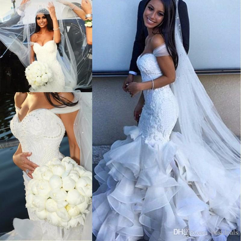 2017 Vestido De Noiva Chapel Train Dream Bridal Gowns Pearls Beaded ...