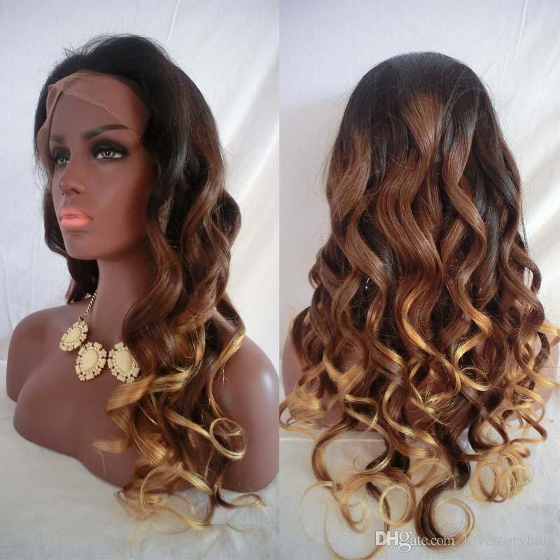# 1b / 4/27 ombre Human Hair Perruque Corps Vague Trois Ton Dentelle Dentelle Perruque de cheveux en dentelle pleine dentelle humaine pour femmes noires