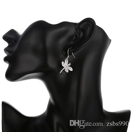 Mejor venta de plata 925 circón libélula pendientes collar conjunto de joyería envío gratuito