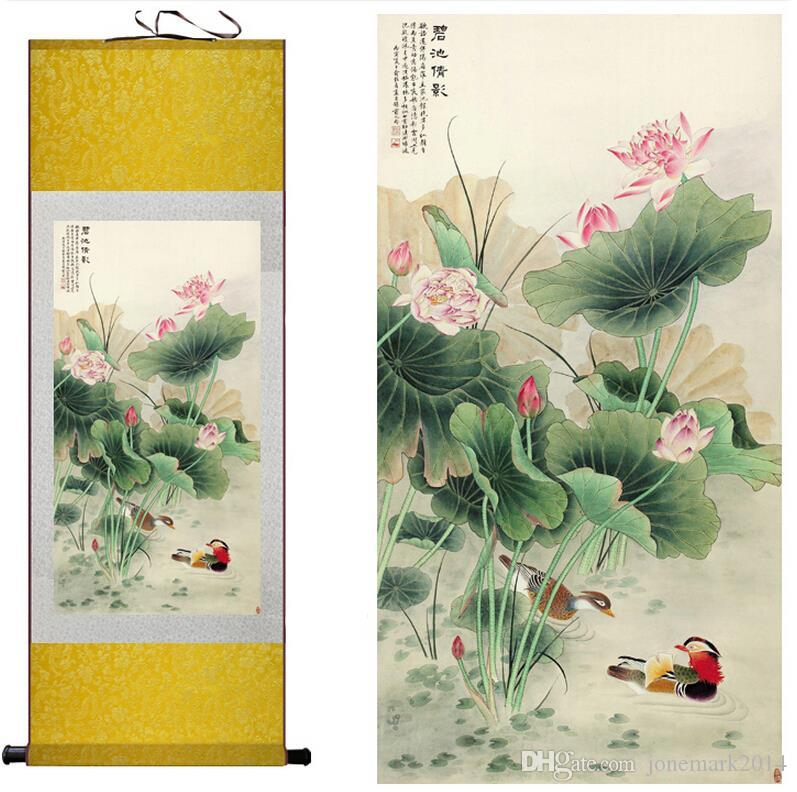 Traditional silk art painting Mandarin Duck and water lily Chinese Art Painting Home Office Decoration Chinese Wall Art Scroll Hang Picture