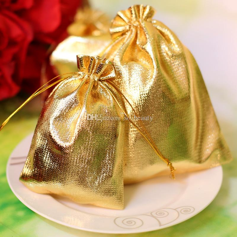 Gold/Silver Cloth Packing Bags Jewellery Pouches Wedding Favors Christmas Party Gift Bag 7x9cm / 9x12cm
