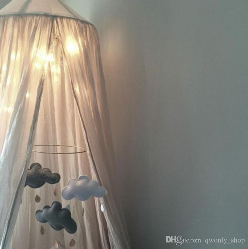 240 cm Baby Raumdekoration Hause Bett Vorhang Runde Krippe Netting Baby Zelt Ramie Baumwolle Hung Dome baby Moskitonetz Fotografie Requisiten