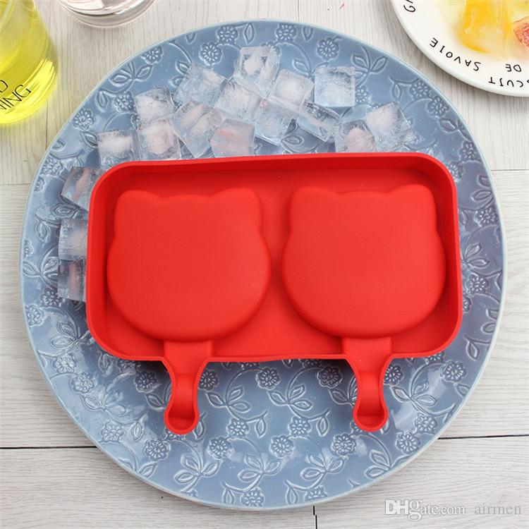 Homemade Silicone Cartoon Cute Ice Pop Molds Popsicle Molds Ice Trays Ice Cream Maker Frozen Holder Mould Kitchen Tools