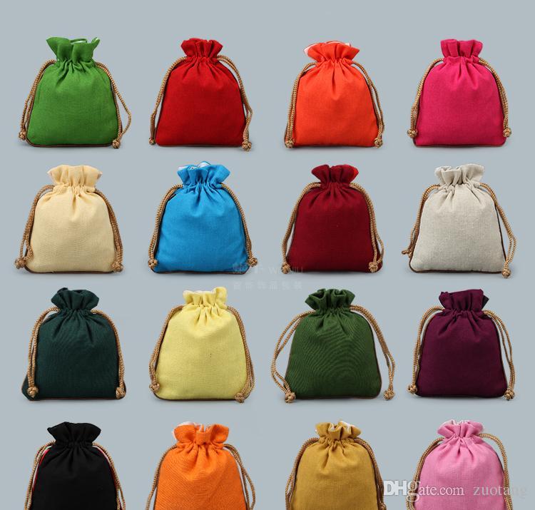 cor lisa de algodão pequeno de linho Bags festa de aniversário do casamento do Natal do favor sacos de cordão jóias de saco de pano Embalagem Pouch /