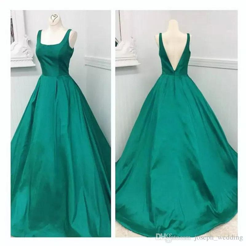 Eleganti abiti da sera verde smeraldo 2016 Una linea quadrata araba africana lungo in raso Plus Size abiti da sera senza spalline Abiti da sera