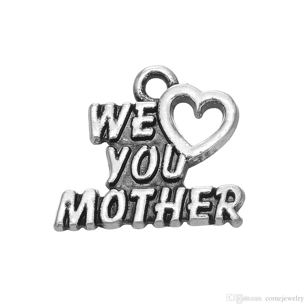 New Arrival Zinc Alloy Metal Engraved We Love You Mother Charm For Mother's Day Gift Jewelry