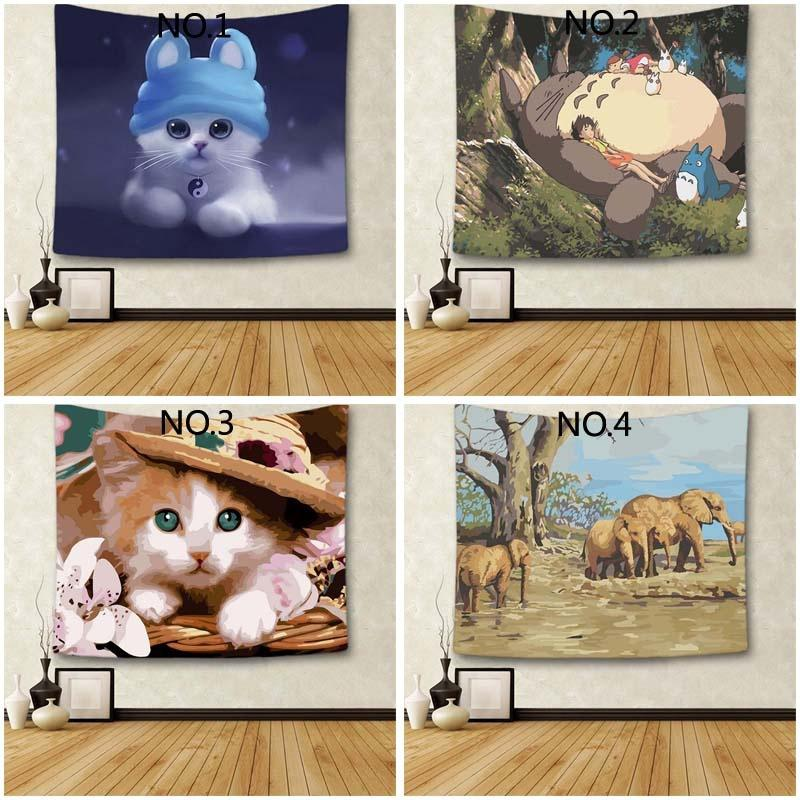 Cute Animal Style Tapestry Home Fashion Wall Hanging Hippie Bed Spread Beach Towel Yoga Mat Table Cloth 150x130 Cm