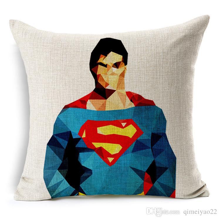 American TV Series the Avengers Cushion Cover Geometric Superman Iron Man Pillow Cover Cotton Linen Cushion Pillow Cases for Bedroom Sofa