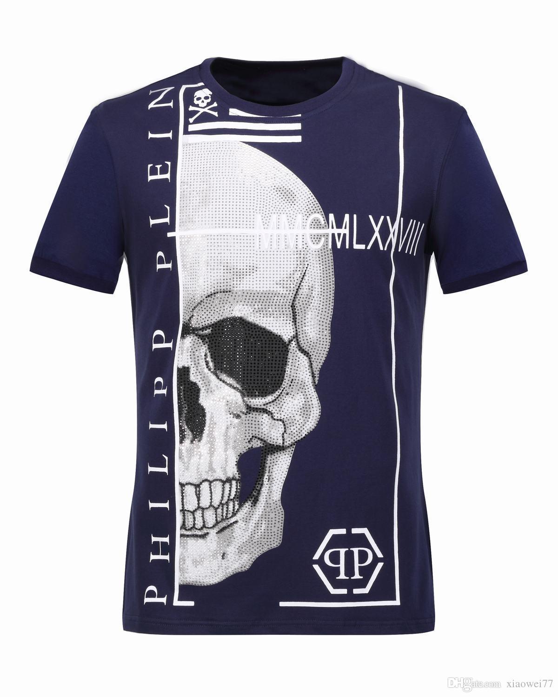 2017 2017 Designer T Shirts Men Large Skulls Crystal Printed Round ...