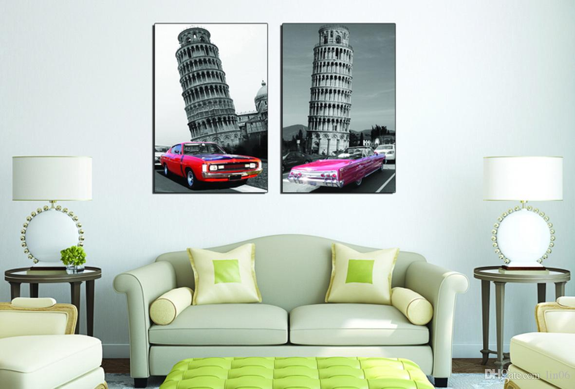 Time-Limited Promotion Modular Picture City Impression The Leaning Tower of Pisa Living Room Modern Decorative Painting