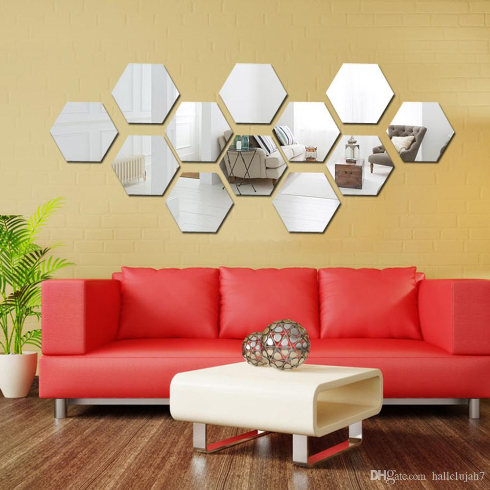 Acrylic D Mirror Wall Stickers Hexagon Decals Background - Wall decals mirror