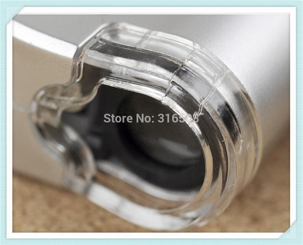 100pcs/lot Silver 60X Mini Pocket Magnifier Microscope Loupe LED Currency UV Detector free shipping by DHL