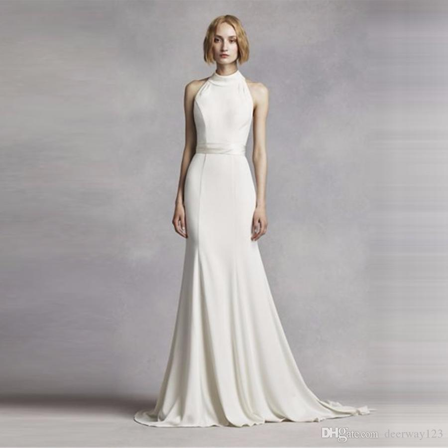 Elegant Simple High Neck Halter Wedding Dress White