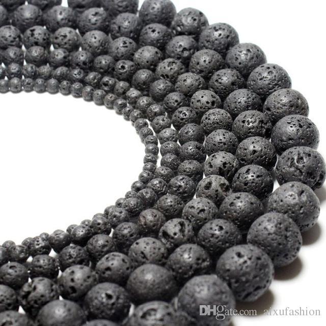 4 6 8 10 12mm Doğal Lava Taş Boncuk Siyah Volkanik Kaya Yuvarlak Taş Gevşek Boncuk DIY Takı Bilezik Yapımı Toptan Için
