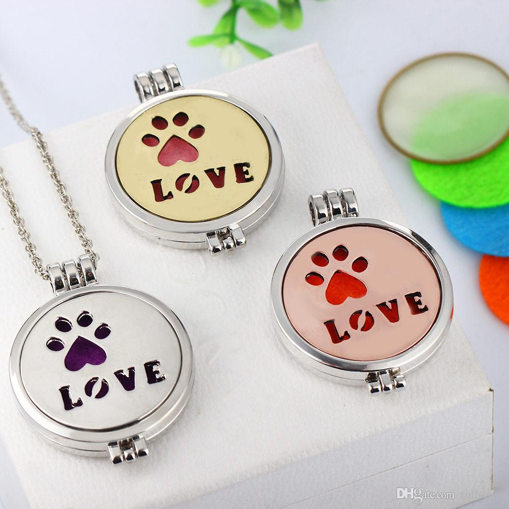 Lovely Luminous Dog Pet Love Paw Perfume Diffuser Locket Pendant Women Necklace 2017 Wholesale Vintage Wedding Bride Jewelry Gift