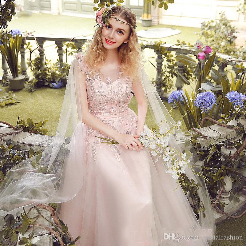 Top Quality Bohemia Lace Pink Wedding Dresses Sexy Backless Fashion Brand Evening Dress Sleeveless A Line Wedding