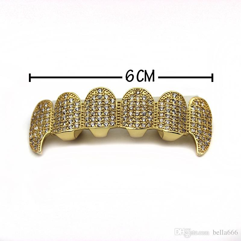 New Custom Women Men Fit Gold Plated Full Micro Exclusive Luxury Zircon Top Bottom Gold Grillz Vampire Classic Diamond Dentine Teeth Set