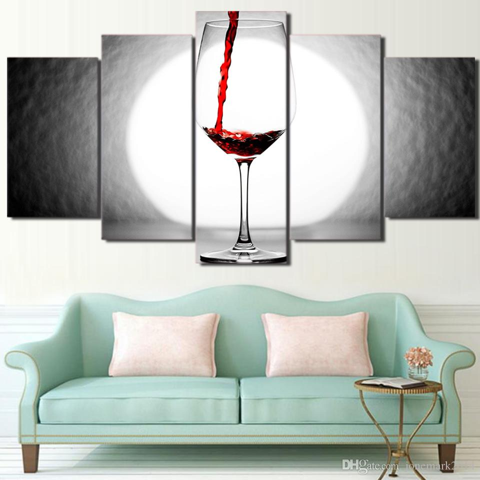 Framed HD Printed Wine Glass Light Home Wall Decor Poster Canvas Art Painting Wall Pictures Modular Painting