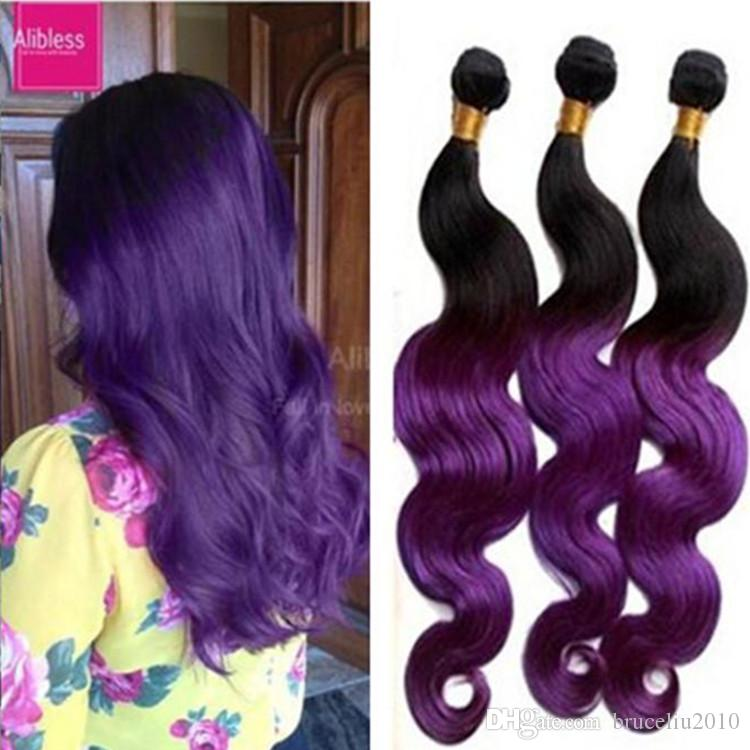 2 Tone Ombre Hair Extensions 3 Bundles Purple Brazilian Hair Black