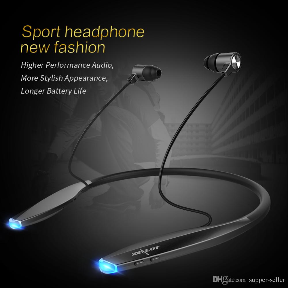 Newest ZEALOT H7 Bluetooth Headphones with Magnet Attraction, Slim Wireless Earphone Neckband Sport Earbuds with Mic For iPhone XIAOMI