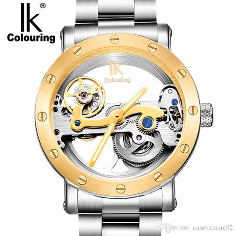 edb98f784fb Compre Marca De Moda IK Coloração Tourbillon Relógio Oco