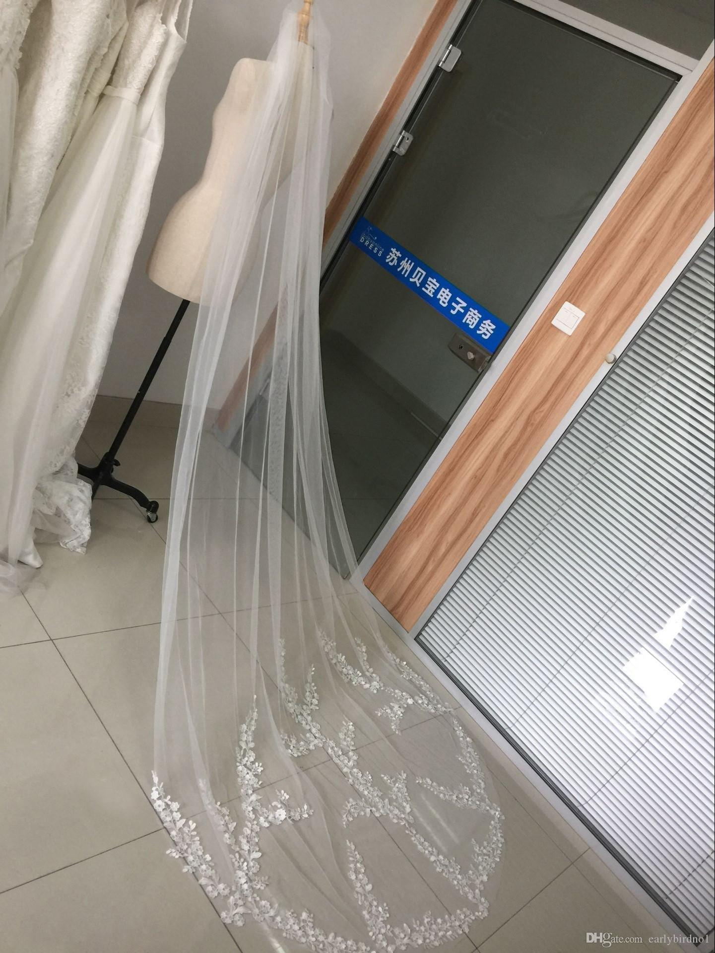 2018 neue Ankunft Lager 3 Meter Lange Tüll Brautschleier mit Kamm und Spitze Appliques 1 T Real Photo Brautschleier Hochzeit Zubehör CPA886