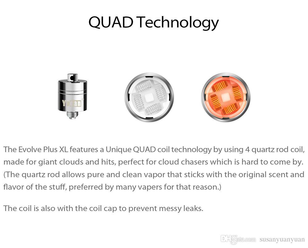 Authentische Yocan Evolve Plus XL Wachs QUAD Coil Quad Quatz Rod Spulen mit Spule Cap für Evolve Plus XL Dab Pen Kit