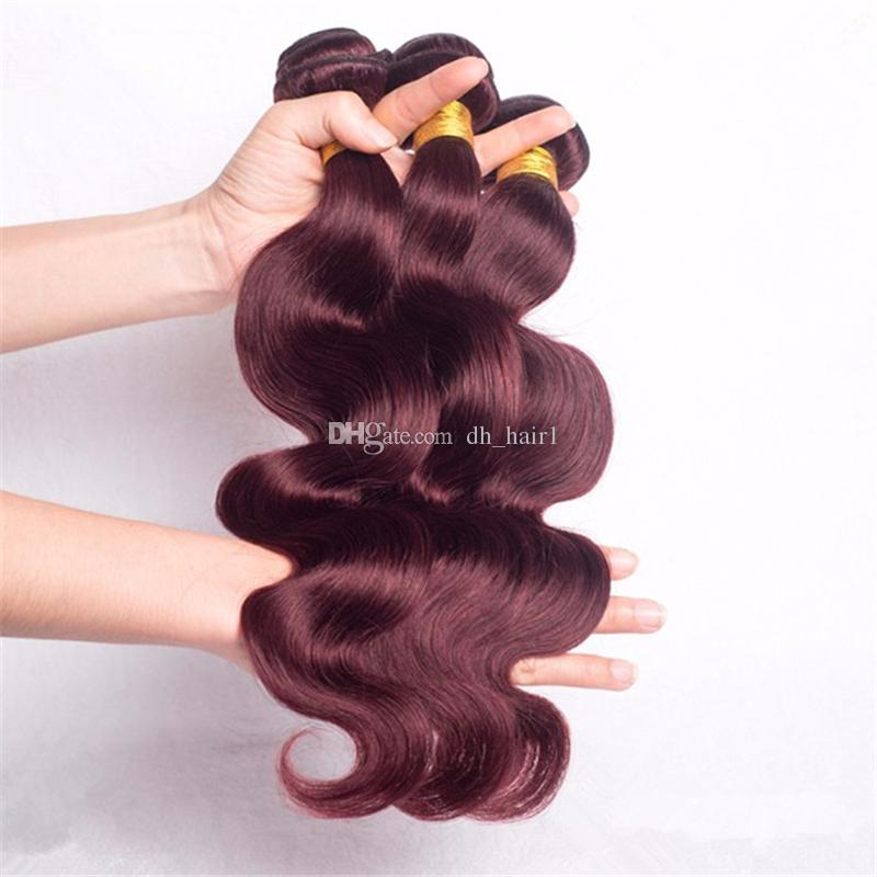 Brazilian Virgin Hair Burgundy Body Wave Hair Weaves With Lace Closure #99j Wine Red Free Part Top Closure With Hair Bundles